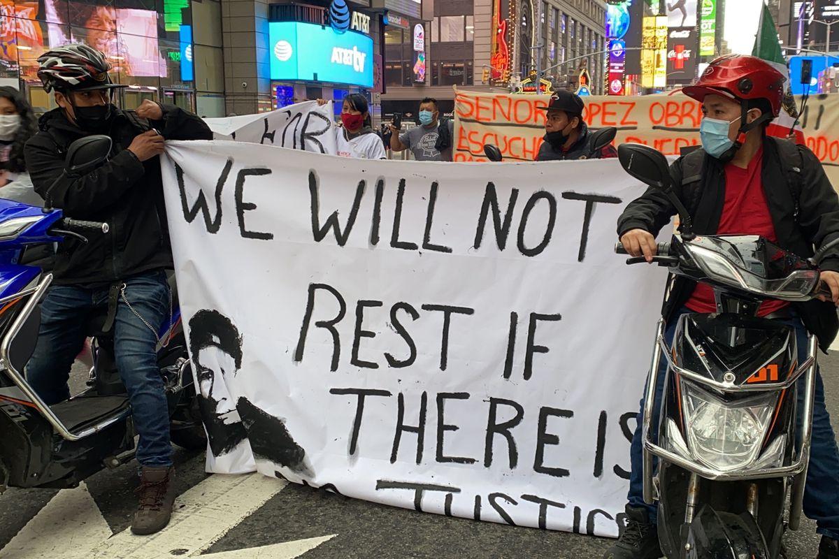 Los Deliveristas Unidos protest in Times Square on April 21.