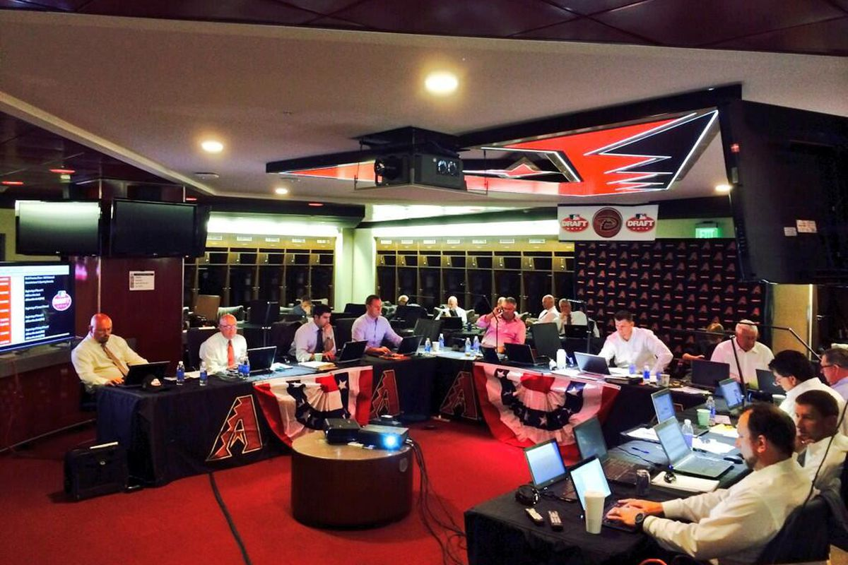 Inside the #Dbacks draft room at @SaltRiverFields. One hour until the 2014 #MLBDraft begins.
