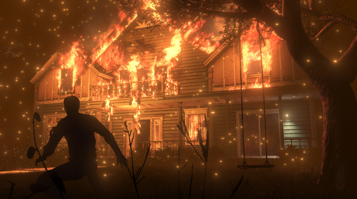 The Evil Within 2 - man in front of a burning house