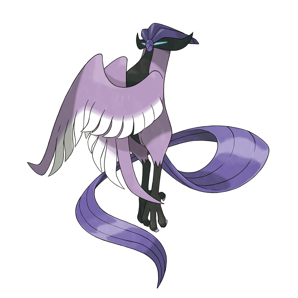 A purple bird with a black mask-like feature around its eyes