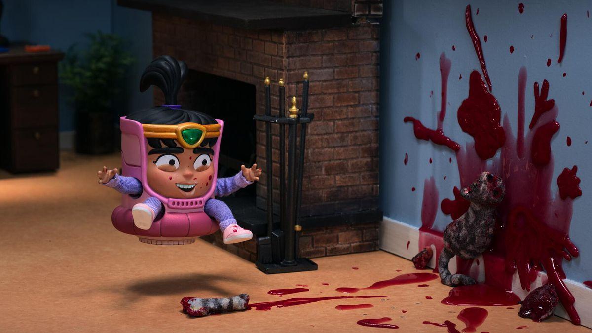 Una versión muy joven de Melissa, la hija de Modok, balanceándose sobre un gato muerto que estalla con valentía.