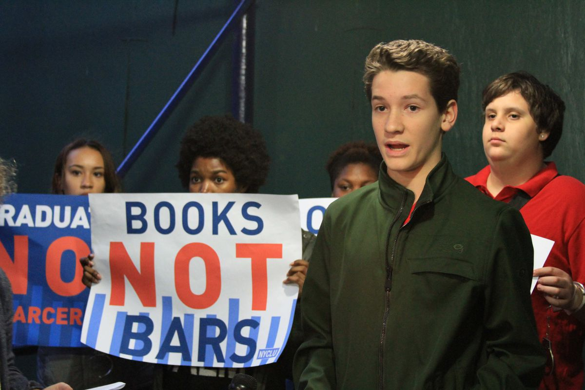 Ben Roter, 14, at a New York Civil Liberties Union protest about the use of police force in city schools in October 2014.