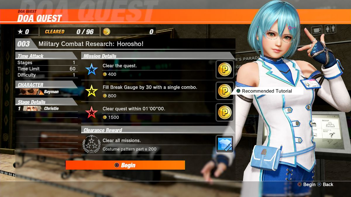 Fighting scientist Nico stands next to a menu of quests in a screenshot from Dead or Alive 6.