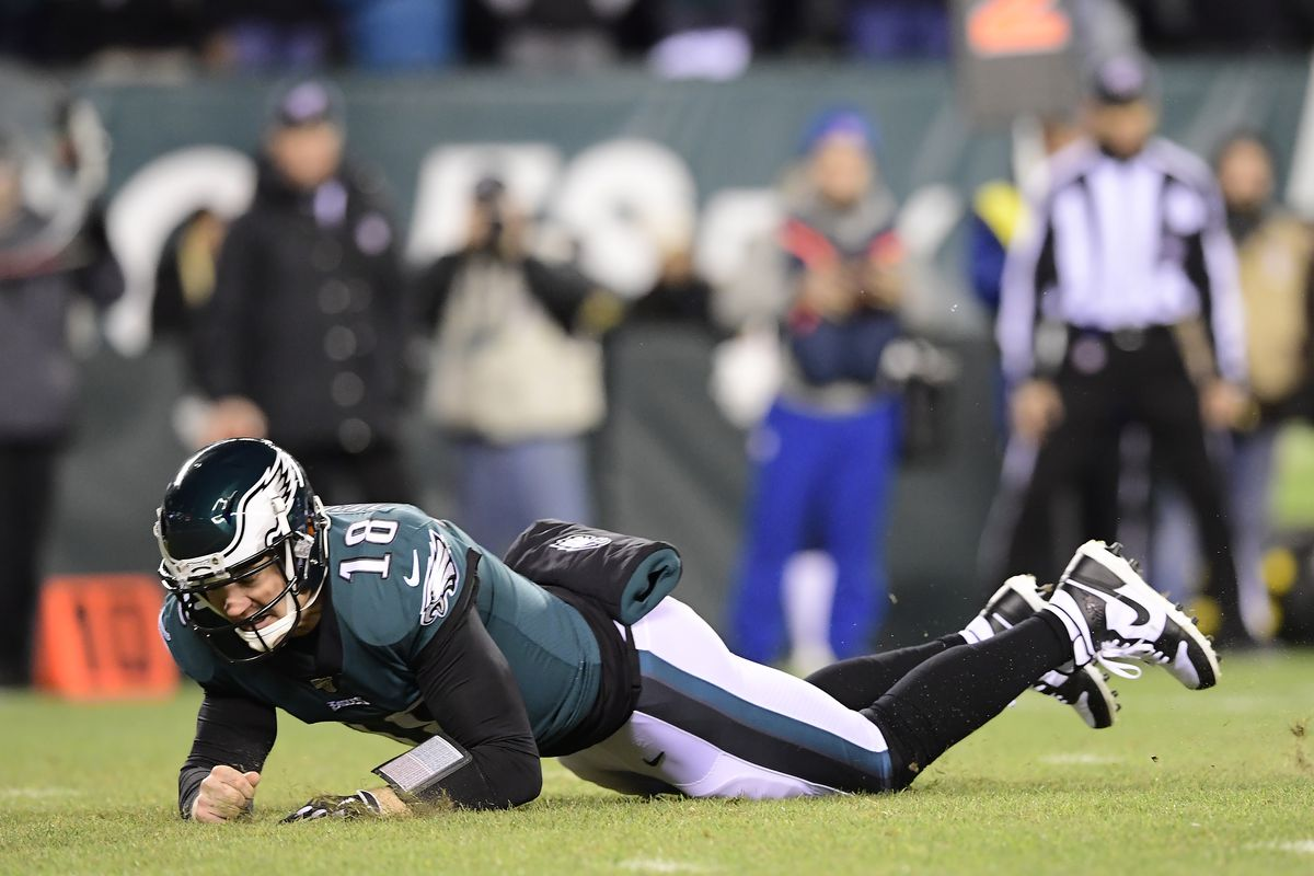 Josh McCown of the Philadelphia Eagles gets tripped up against the Seattle Seahawks in the NFC Wild Card Playoff game at Lincoln Financial Field on January 05, 2020 in Philadelphia, Pennsylvania.
