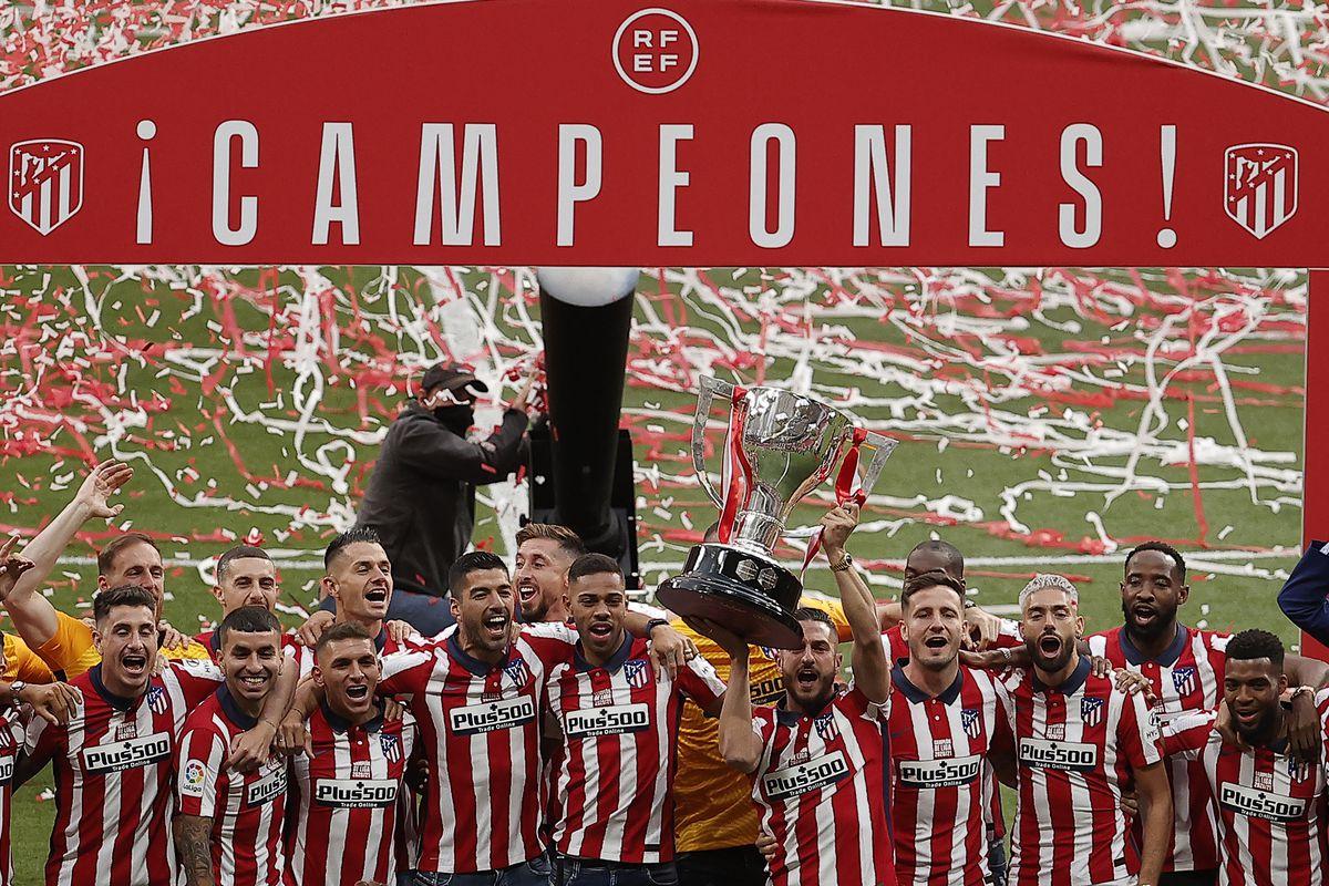 Atletico Madrid celebrate Spanish La Liga title