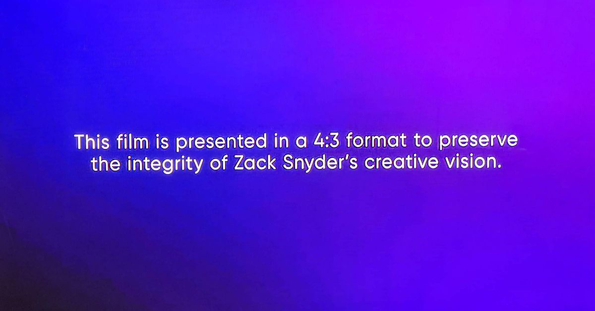 You will watch the Snyder Cut in 4:3 aspect ratio because HBO Max respects cinema – The Verge