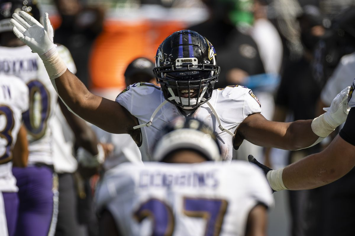 Mark Ingram II #21 of the Baltimore Ravens celebrates after J.K. Dobbins #27 scored a touchdown against the Cleveland Browns during the second half at M&T Bank Stadium on September 13, 2020 in Baltimore, Maryland.