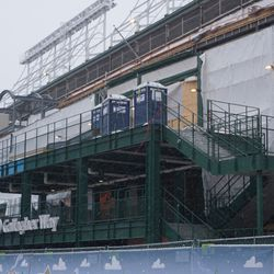 Construction visible along the outside of the upper deck