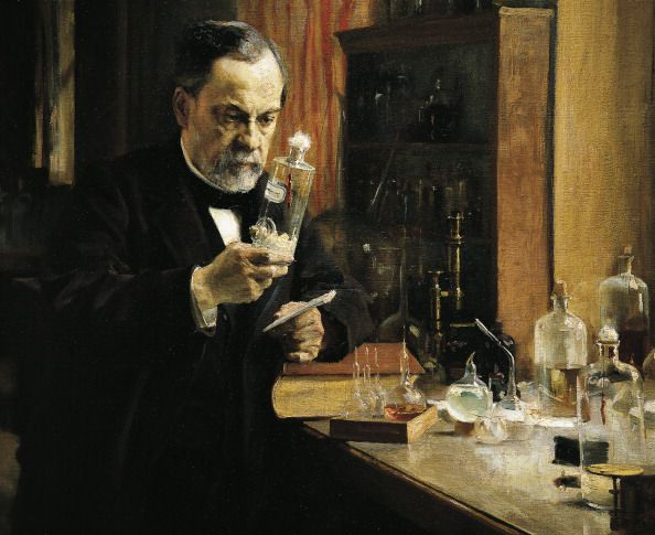 UNSPECIFIED - DECEMBER 17: Louis Pasteur (Dole, 1822-Marnes-la-Coquette, 1895), French chemist, biologist, and microbiologist, in his laboratory. Painting by Albert Edelfelt (1854-1905), 1885, detail. Paris, Musée D'Orsay (Art Gallery) (Photo by DeAgostini/Getty Images)