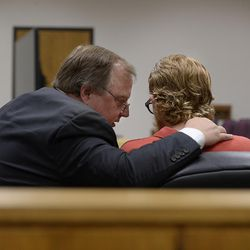 Defense attorney Neil Skousen speaks with his client, Joe Przybycien, 18, of Spanish Fork, during an evidence hearing in Provo's 4th District Court on Wednesday, Aug. 23, 2017. Przybycien is charged with murder, a first-degree felony, in the death of 16-year-old Jchandra Brown, who was found hanging from a rope near Maple Lake in Payson on May 6. Prosecutors say Przybycien helped Brown prepare to kill herself, then recorded her for 10 to 11 minutes on a cellphone while she did, never trying to help the girl.