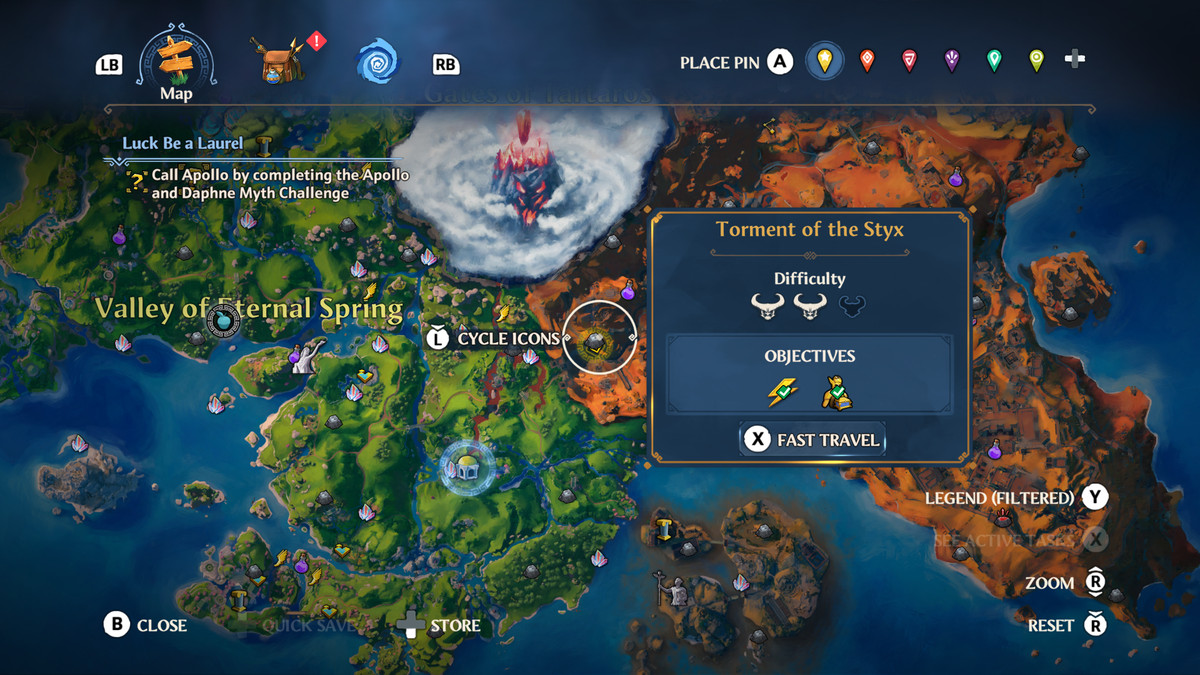 A map screenshot showing the location of the Torment of the Styx Vault of Tartaros