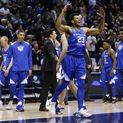 Brigham Young Cougars forward Yoeli Childs (23) yells after a Cougar rally against the Utah Utes in Provo on Saturday, Dec. 16, 2017.