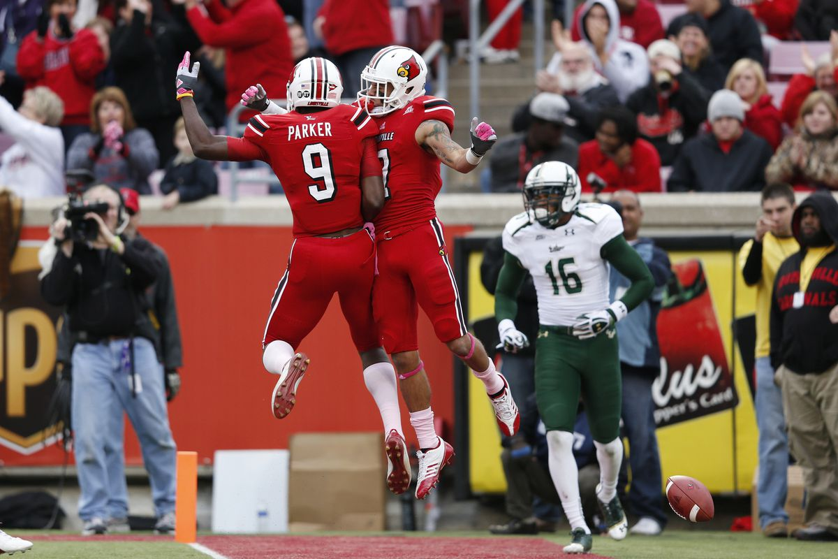 Louisville celebrates after USF forgot to cover them on a touchdown pass in the third quarter.