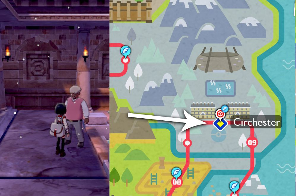 A map points out where to find the Draco Meteor Move Tutor