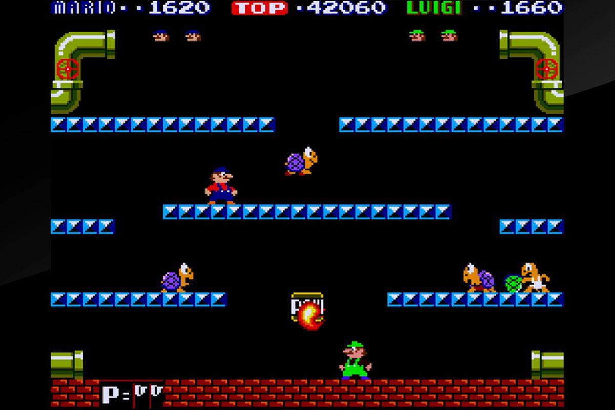 Arcade Archives Mario Bros. - Mario and Luigi with Shellcreepers
