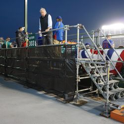 Temporary platform for the media, set up behind the left field bleachers