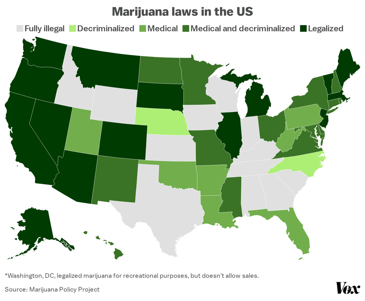 A map of marijuana laws in the US.
