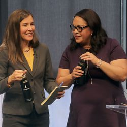 Salt Lake City Councilwoman Erin Mendenhall and Sen. Luz Escamilla, D-Salt Lake City, talk after participating in a Salt Lake City mayoral debate, hosted by the Downtown Alliance, at the Regent Street Black Box at the Eccles Theater in Salt Lake City on Wednesday, Oct. 9, 2019.