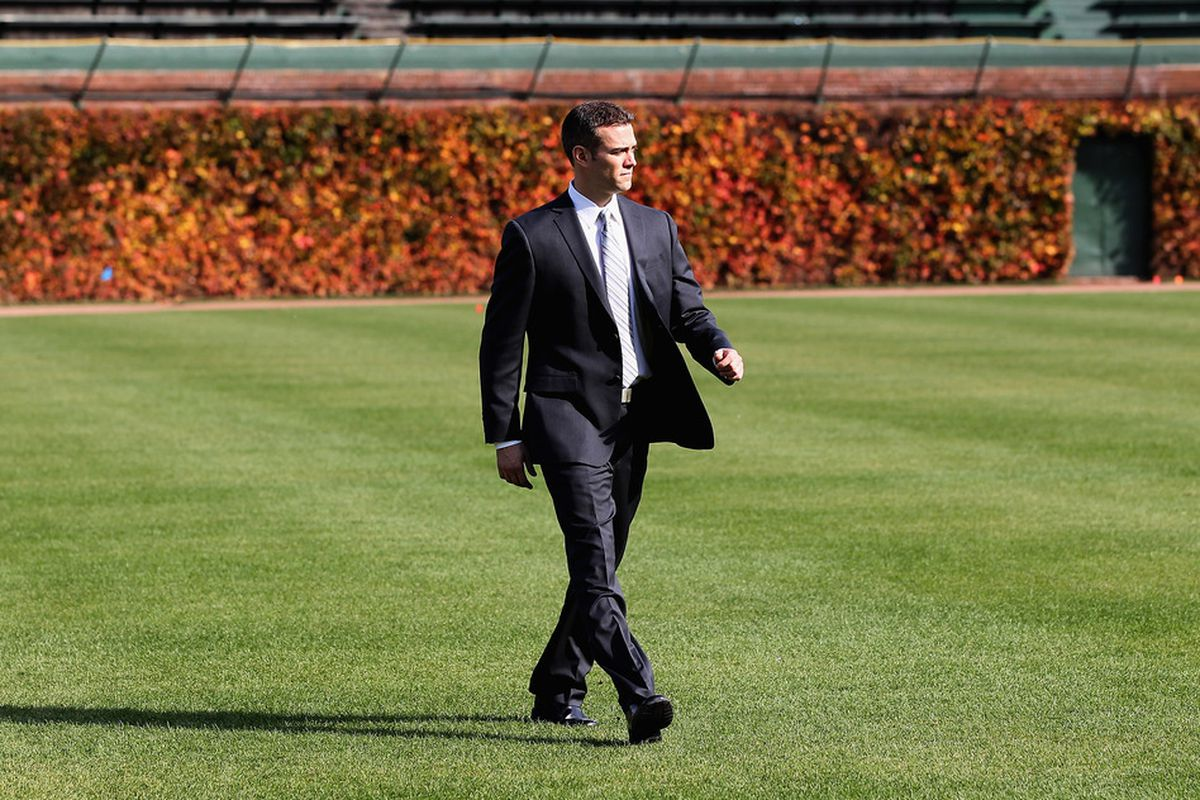 Theo Epstein surveys the outfield