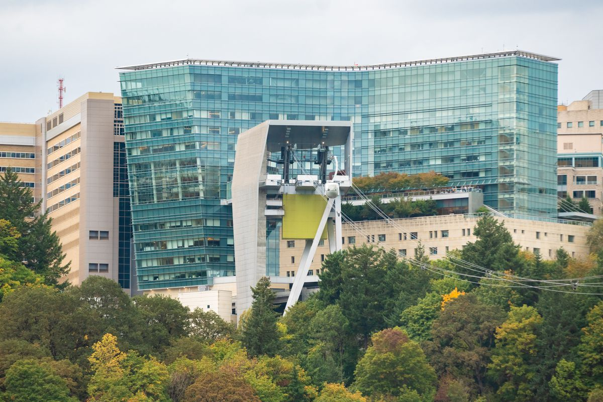 Oregon Health and Science University (OHSU) campus on the Marquam hill with an aerial tram going to the terminal.
