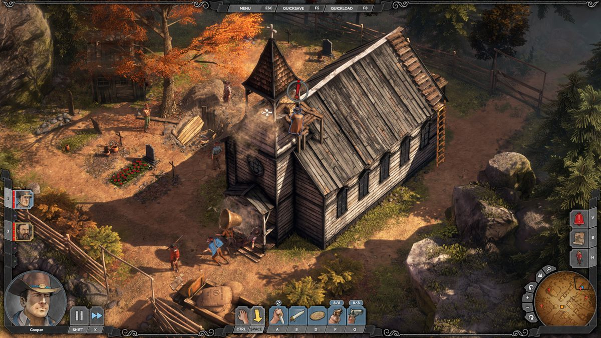 A player pushes a bell off a church tower, crushing several enemies below.