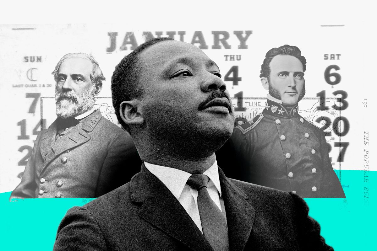 A collage featuring Martin Luther King Jr., Robert E. Lee, and Stonewall Jackson.