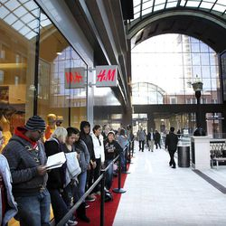 People line up to shop at H&M at City Creek Center in Salt Lake City, Thursday, March 22, 2012.