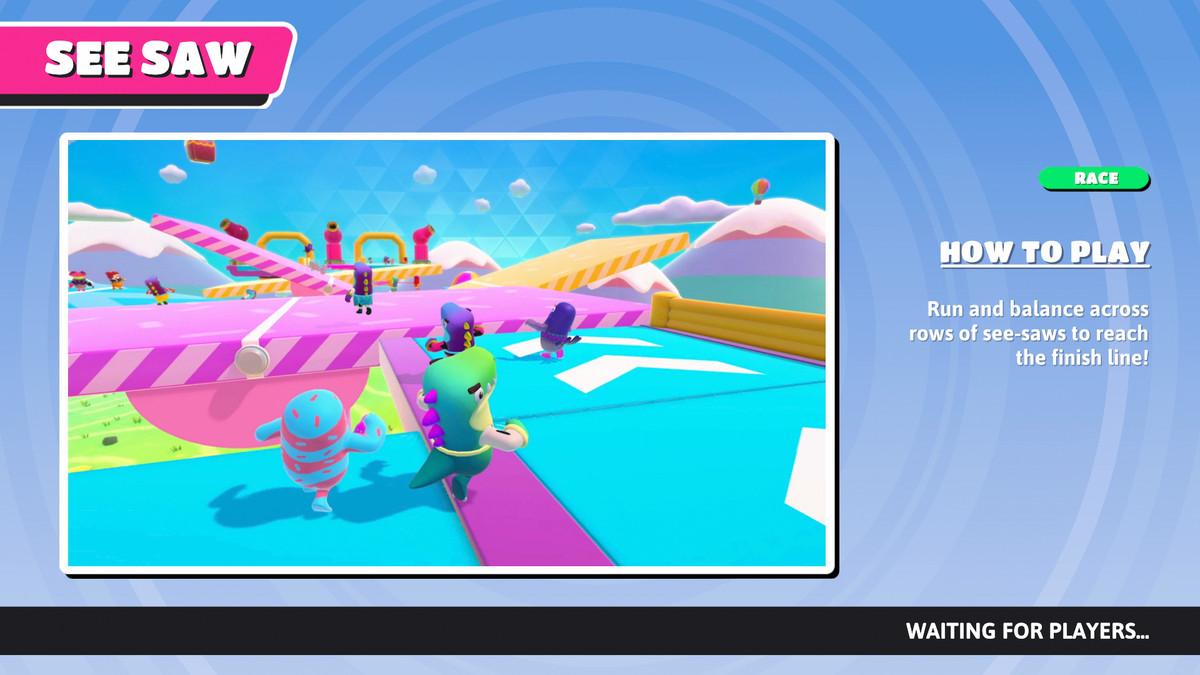 L'écran d'informations sur le jeu See Saw dans Fall Guys