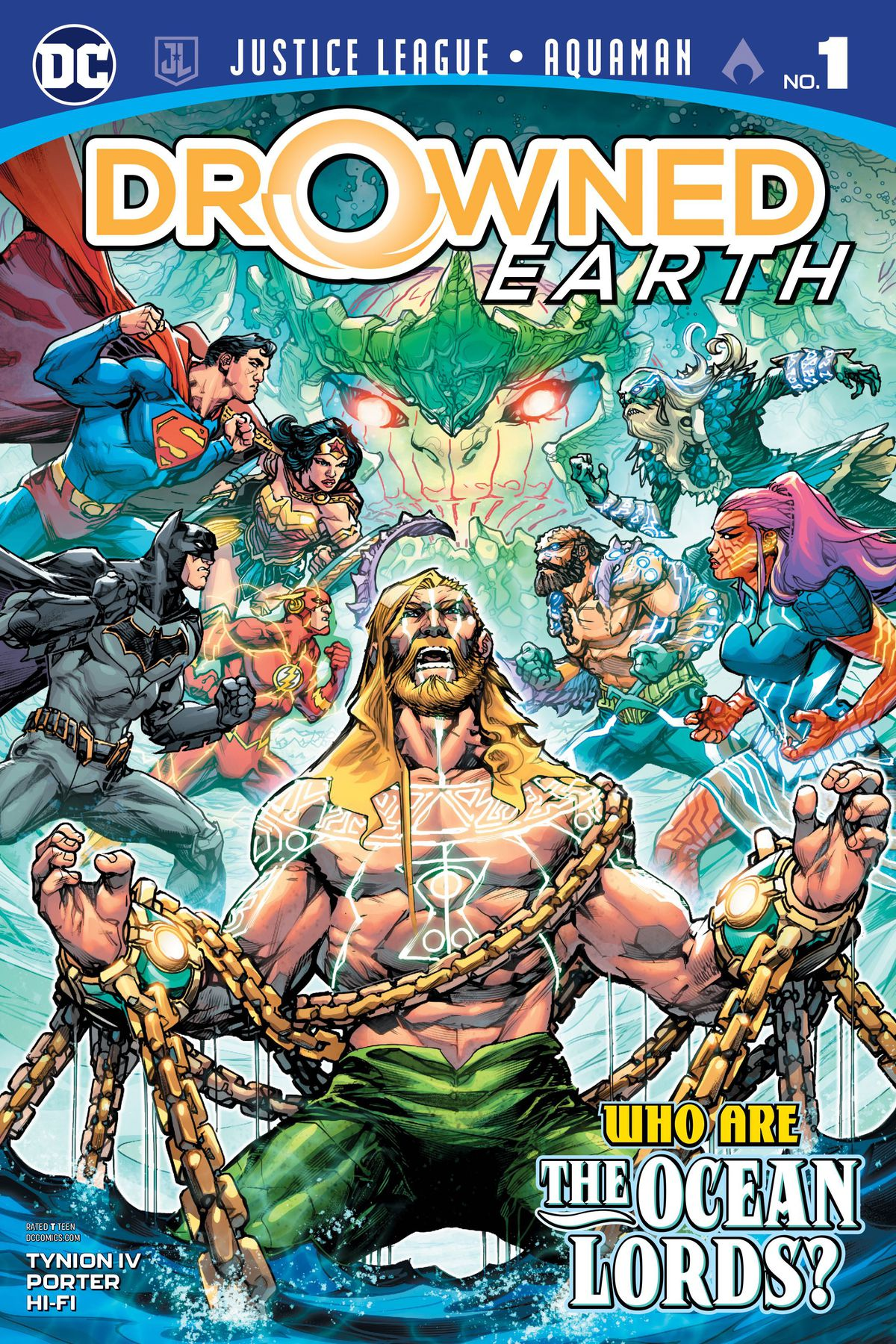 The cover of Justice League/Aquaman: Drowned Earth #1, DC Comics (2018).