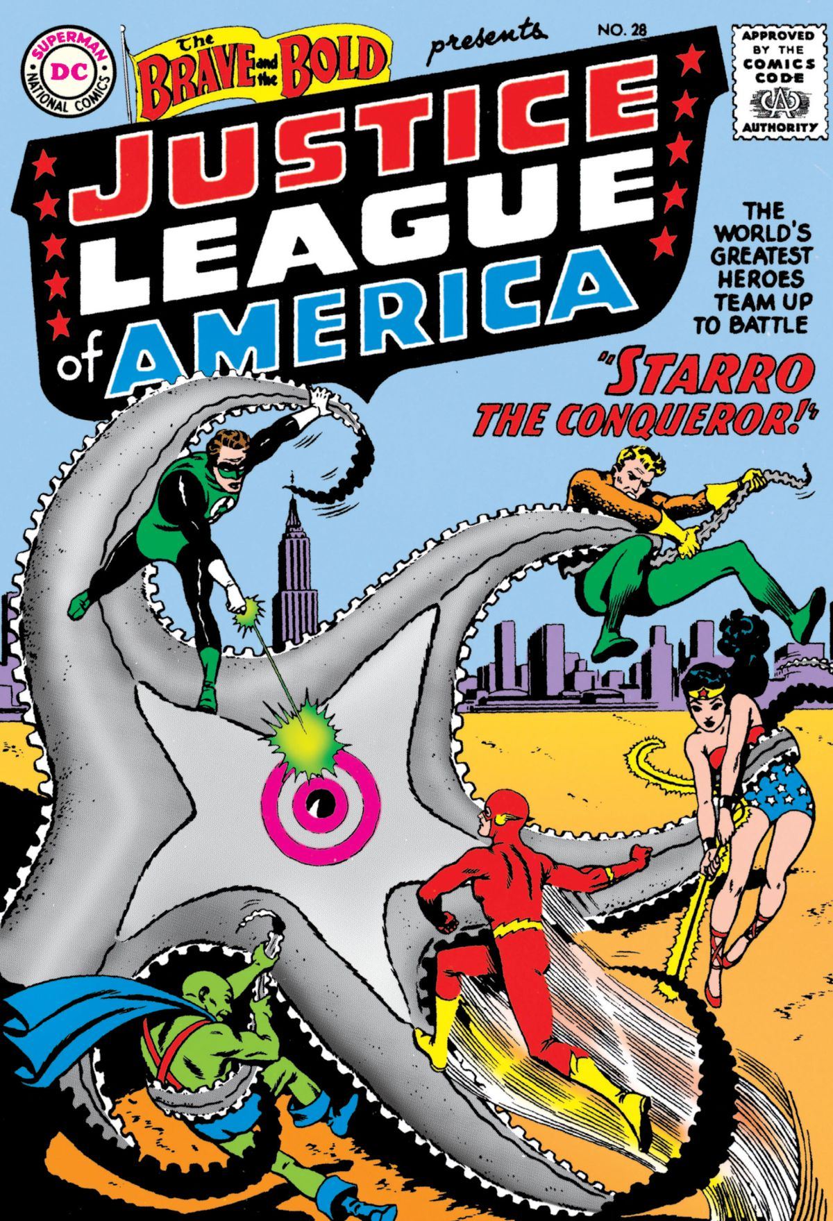 Green Lantern, Aquaman, Wonder Woman, the Martian Manhunter, and the Flash battle Starro, a giant starfish with a central eye on the cover of The Brave and the Bold #28 (1960).