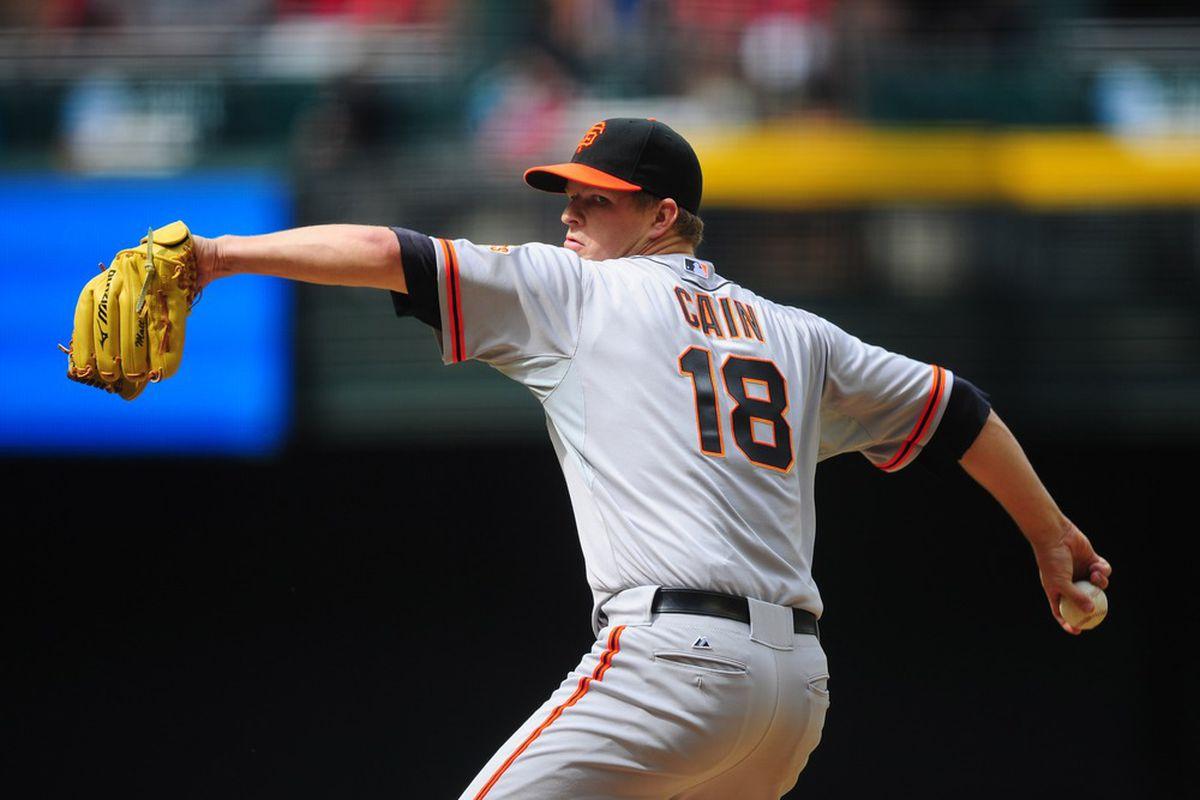Apr. 8, 2012; Phoenix, AZ, USA; San Francisco Giants pitcher Matt Cain throws in the sixth inning against the Arizona Diamondbacks at Chase Field. Mandatory Credit: Mark J. Rebilas-US PRESSWIRE