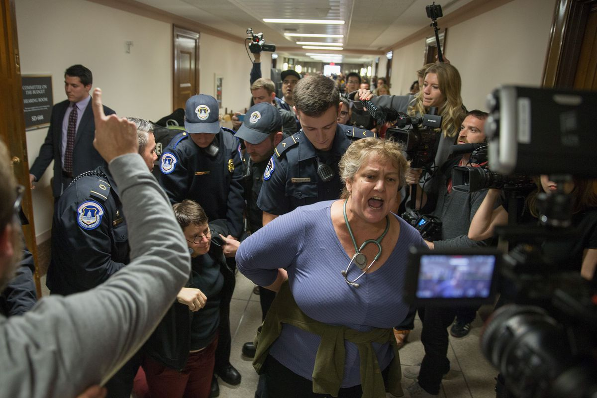 WASHINGTON, DC - NOVEMBER 28: Protesters are detained near the full Senate budget committee markup of the tax reform legislation on Capital Hill November 28, 2017 in Washington, DC. Republicans in the Senate hope to pass their legislation this week and work with the House of Representatives to get a bill to President Donald Trump before Christmas. (Photo by Tasos Katopodis/Getty Images)