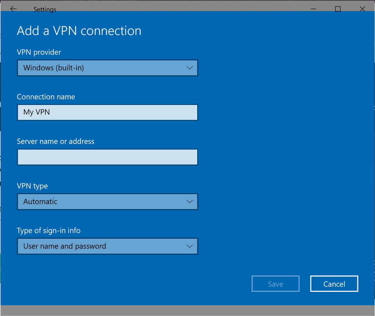Add a VPN profile in Windows 10.