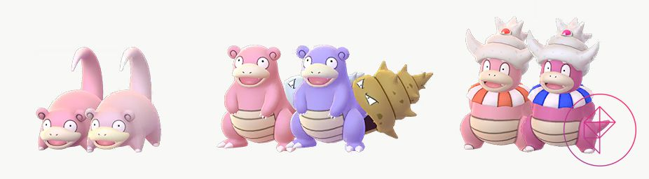 Shiny Slowpoke, Slowbro, and Slowking with their normal forms. Shiny Slowpoke is a lighter pink, Shiny Slowbro is purple with a golden shell, and Shiny Slowking is a darker pink with a blue collar.