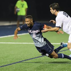 The UConn Huskies take on the Yale Bulldogs in a men's college soccer game at Reese Stadium in New Haven, CT on September 11, 2019.