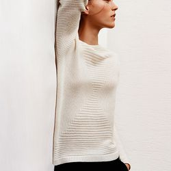 Blended square cashmere sweater, $69.90; wide wool cashmere pants, $69.90