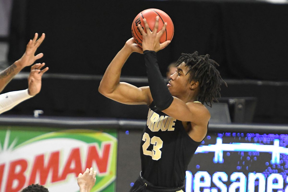 Jaden Ivey of the Purdue Boilermakers takes a jump shot during a college basketball game against the Maryland Terrapins on February 2, 2021 at Xfinity Center in College Park, Maryland.