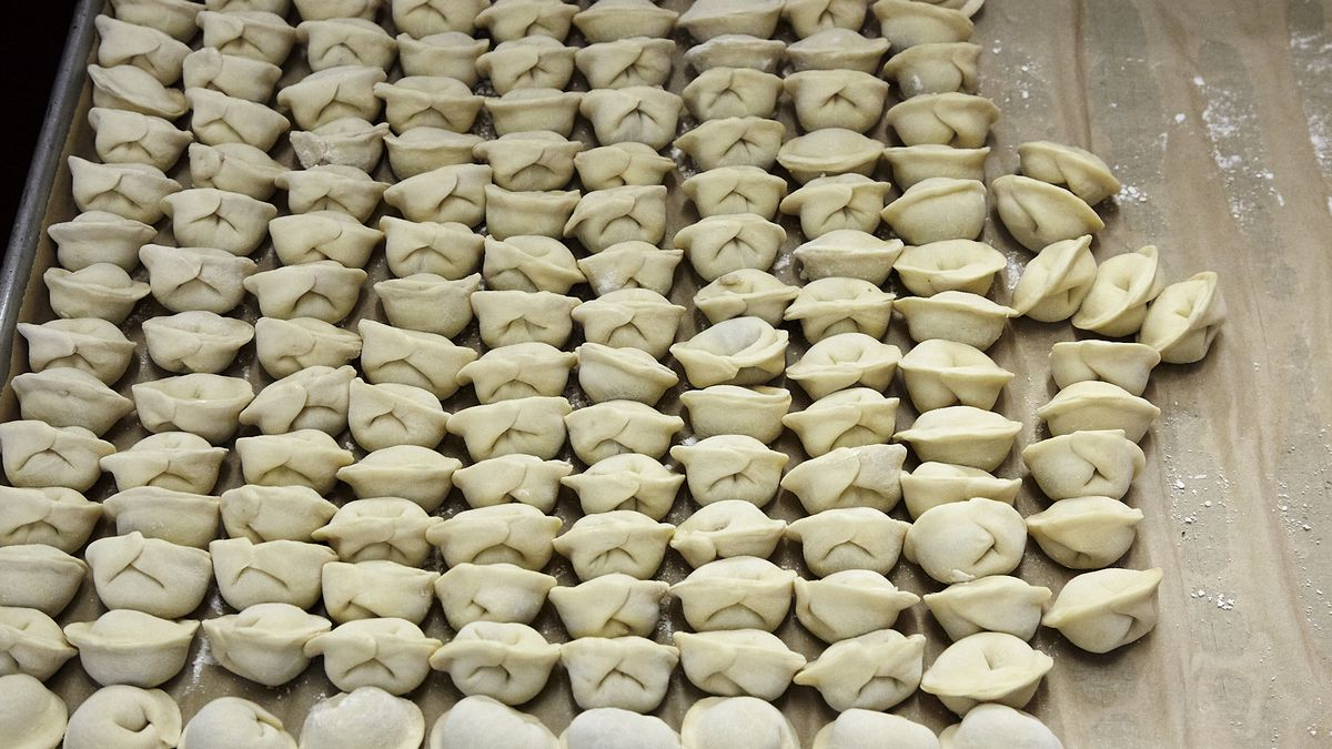 A tray of uncooked pelmeni at Cinderella Russian Bakery & Cafe