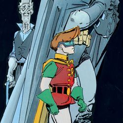 Batman, Alfred and Robin in <em>The Dark Knight Returns</em>.