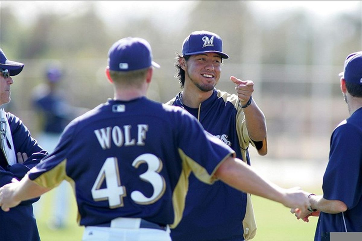 Here's Yovani Gallardo at spring training yesterday. Today, he's a year older.