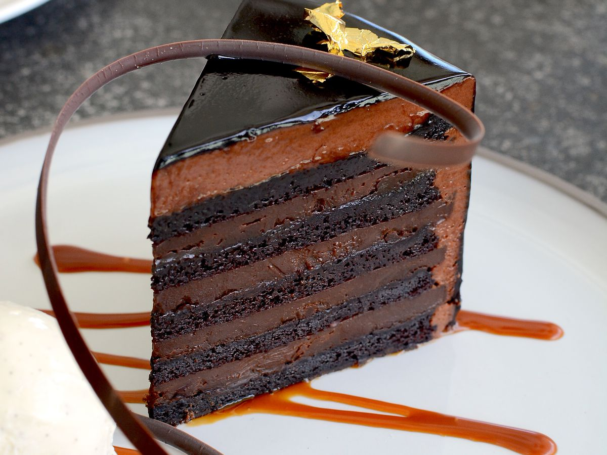 A 10-layer chocolate cake from Coin and Candor.