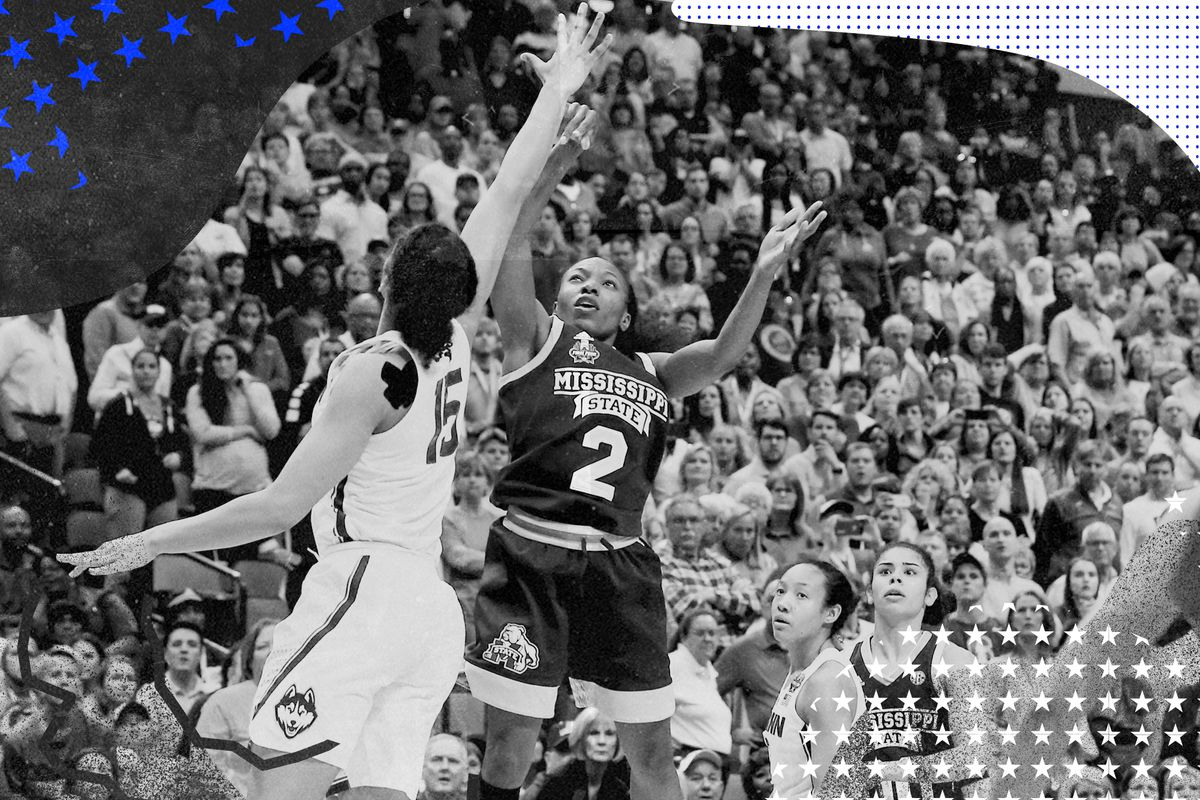 Mississippi State guard Morgan William puts up the game-winning shot at the buzzer against the UConn Huskies at during an NCAA semifinal game.