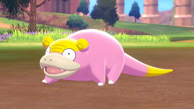 Galarian Slowpoke walking along dirt in Pokémon Sword and Shield