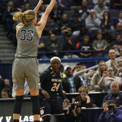 UConn's Katie Lou Samuelson (33) attempts a three during the Notre Dame Fighting Irish vs UConn Huskies women's college basketball game in the Women's Jimmy V Classic at the XL Center in Hartford, CT on December 3, 2017.