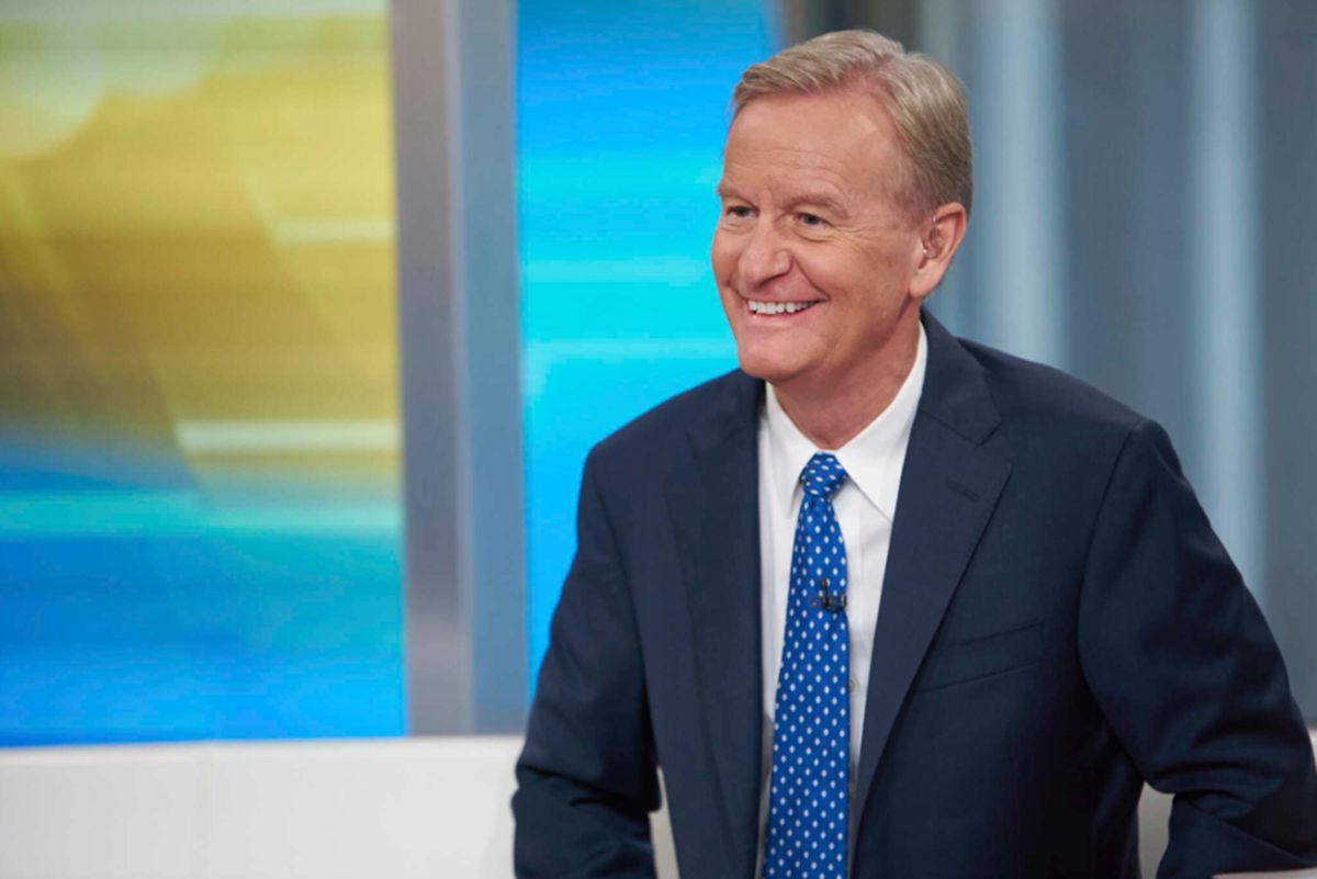 """Steve Doocy, co-host of """"Fox & Friends,"""" is pictured on the Fox News Channel in 2021."""