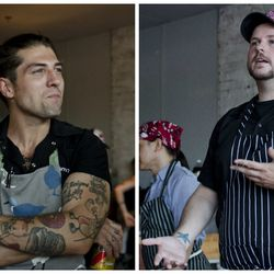 """<span class=""""credit"""">Sam Monsour (left) and Mark O'Leary, plus scenes and dishes from their last big The Future of Junk Food event in Boston (for now), which took place at La Brasa in early August. [Photos: <a href=""""http://rachelblumenthal.net"""">Rachel Lea"""