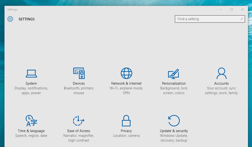 Windows 10 Settings menu screenshot 1060