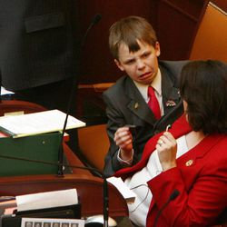 Becky Lockhart, the first woman to serve as Utah House speaker, died at her home Saturday, Jan. 17, 2015, from an unrecoverable and extremely rare neurodegenerative brain disease. Lockhart, pictured in 2008 with her son Stephen during a legislative session, was 46.
