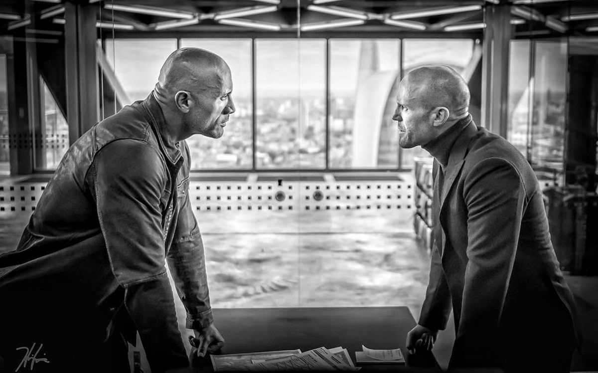 Hobbs and Shaw - Luke Hobbs and Deckard Shaw looking at each other