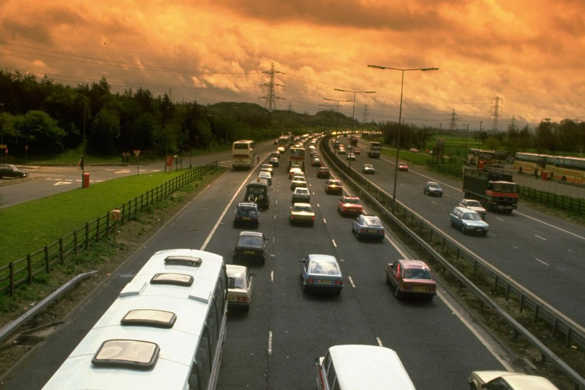 General view of the traffic heading from the FA Cup final